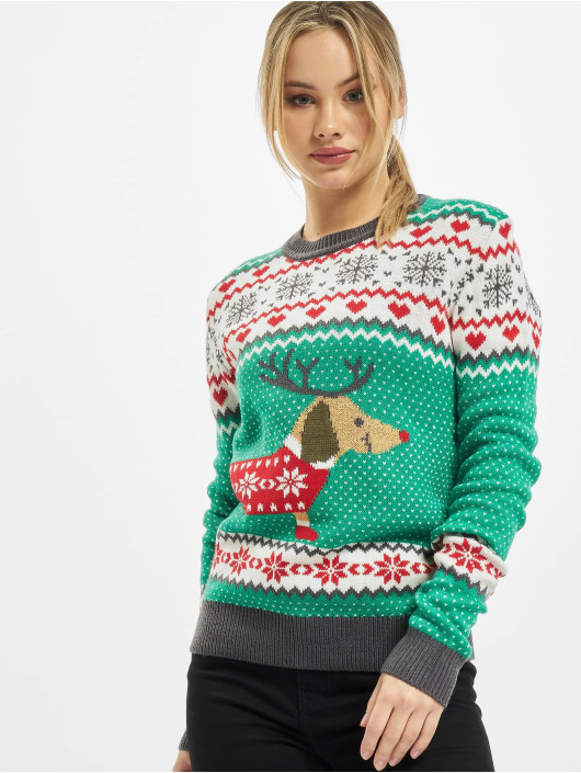 Urban Classics Pullover Ladies Sausage Dog Christmas green