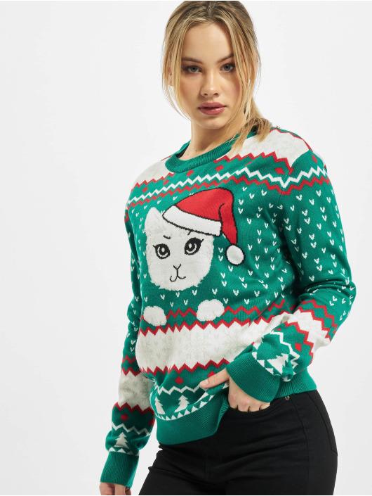 Urban Classics Pullover Ladies Kitty Christmas grün