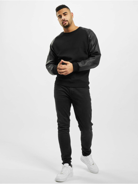 Urban Classics Pullover Raglan Leather Imitation schwarz