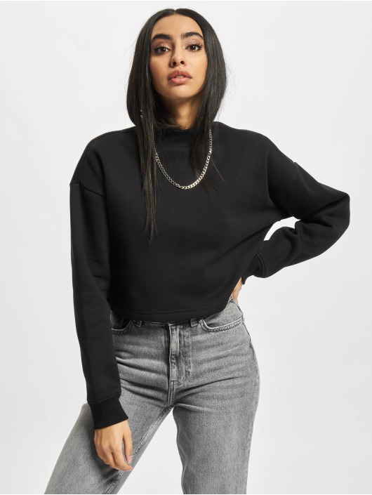 Urban Classics Pullover Ladies Cropped Oversized High Neck Crew schwarz