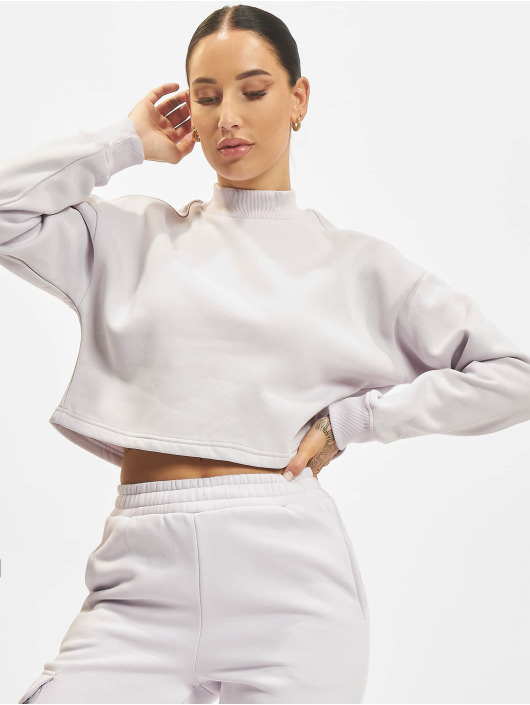 Urban Classics Pullover Ladies Cropped Oversized High Neck Crew violet