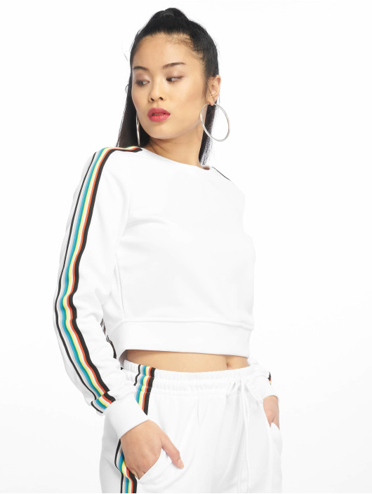 Urban Classics Pullover Multicolor Taped Sleeve weiß