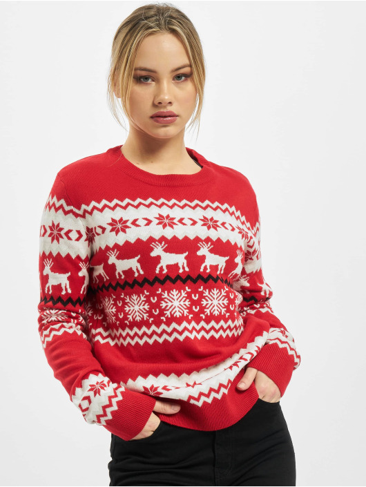 Urban Classics Pulóvre Ladies Norwegian Christmas èervená