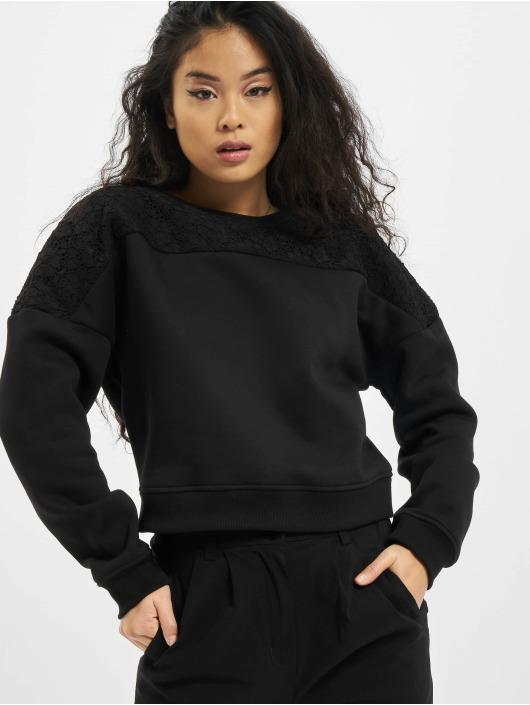 Urban Classics Pulóvre Short Oversized Lace Inset èierna