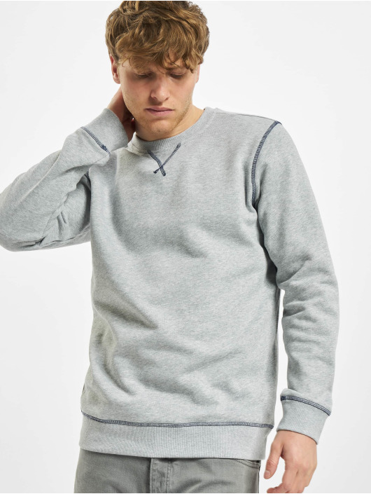 Urban Classics Pulóvre Organic Contrast Flatlock Stitched šedá