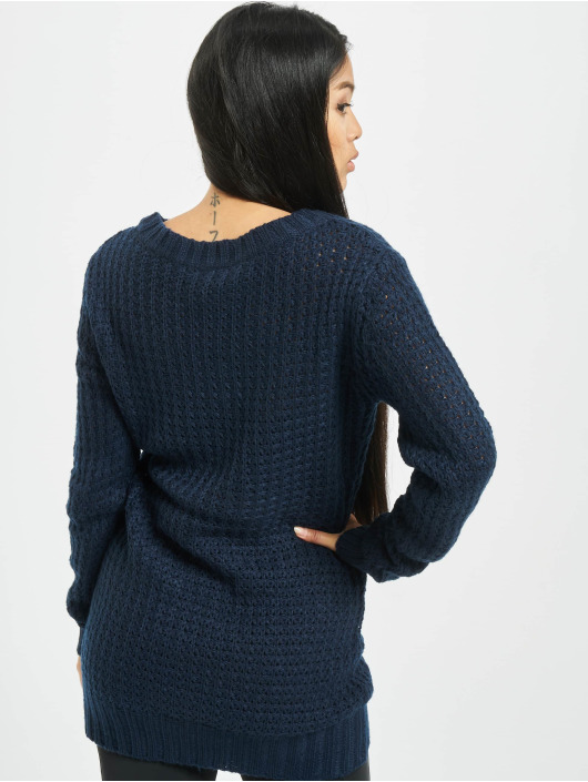 Urban Classics Pulóvre Ladies Long Wideneck modrá