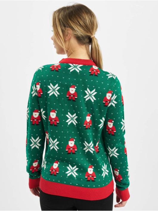 Urban Classics Pulóvre Ladies Santa Christmas zelená