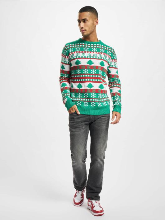 Urban Classics Pulóvre Snowflake Christmas Tree zelená