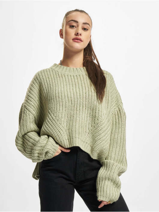 Urban Classics Pulóvre Ladies Wide Oversize zelená