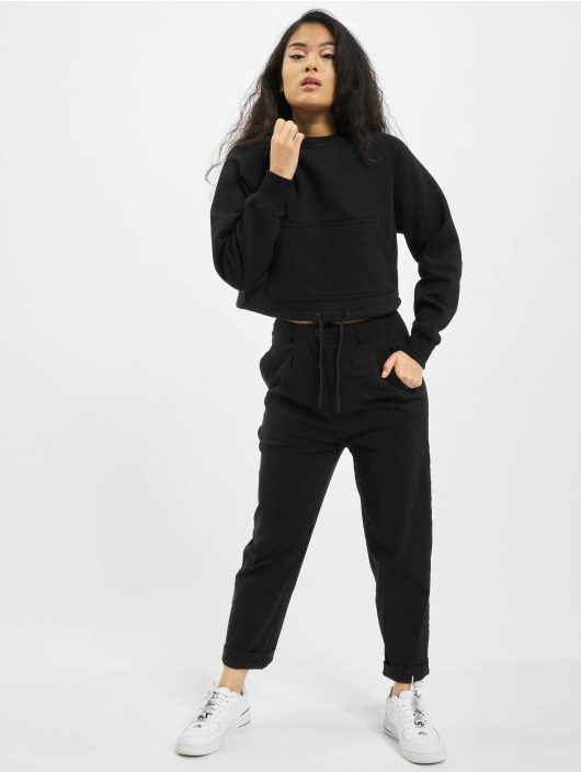 Urban Classics Puserot Ladies Oversized Short Raglan Crew musta