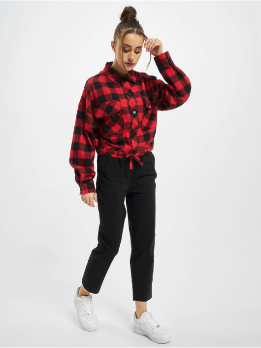 Urban Classics Shirt Ladies Short Oversized Check black