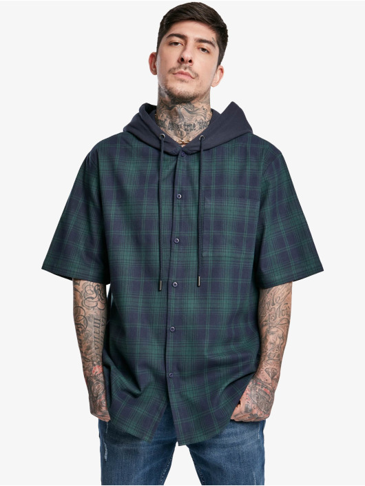 Urban Classics Shirt Hooded Short Sleeve blue