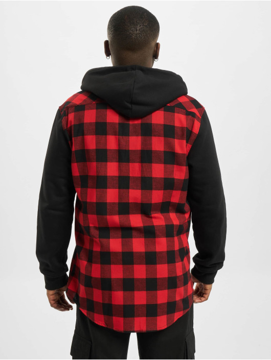 Urban Classics Shirt Hooded Checked Flanell Sweat Sleeve red