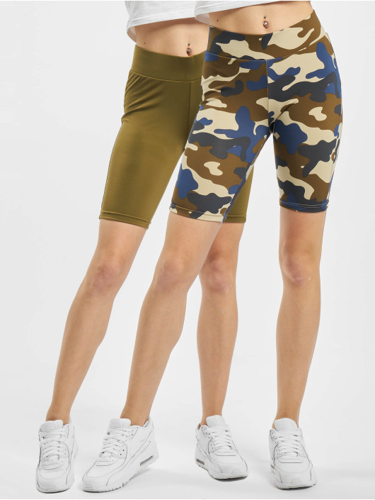 Urban Classics Short High Waist Camo Tech Cycle Double Pack camouflage