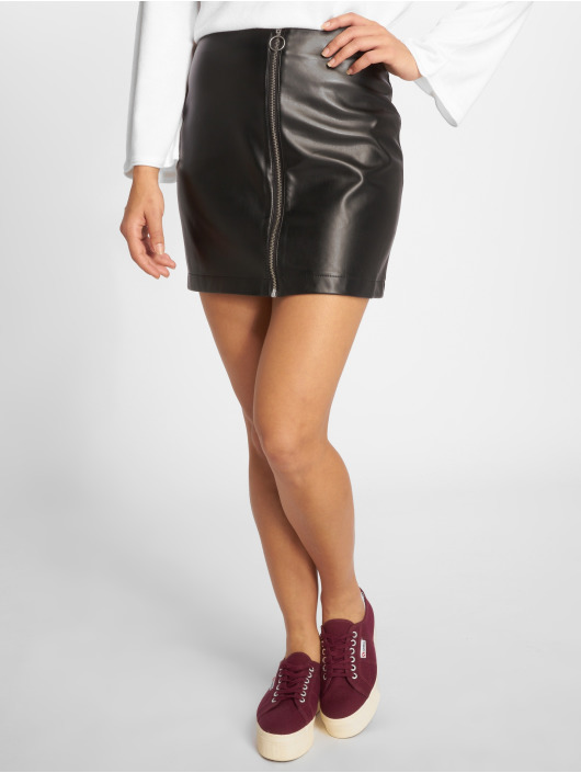 Urban Classics Skirt Faux Leather Zip black