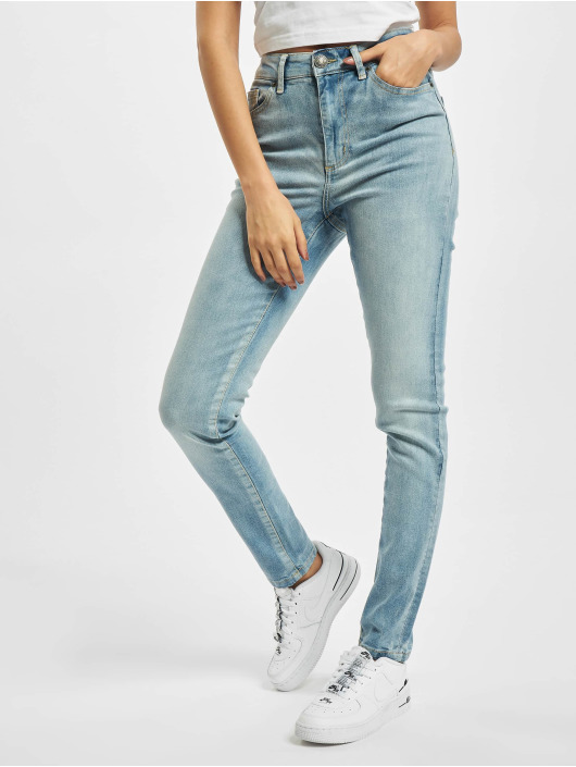 Urban Classics Slim Fit -farkut Ladies High Waist sininen