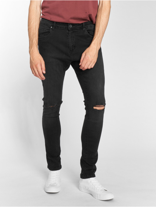Urban Classics Slim Fit Jeans Knee Cut èierna