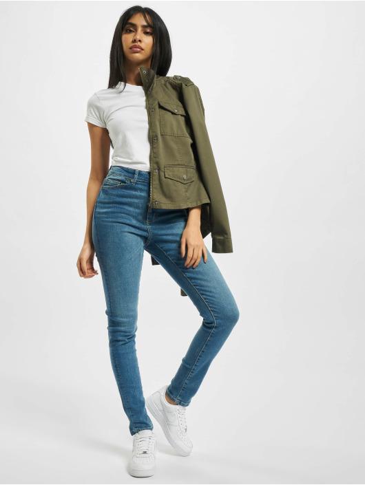 Urban Classics Slim Fit Jeans Ladies High Waist blau
