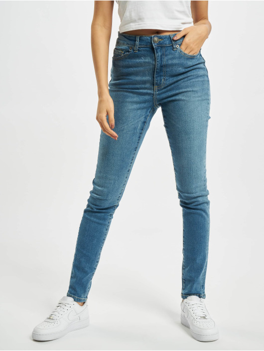 Urban Classics Slim Fit Jeans Ladies High Waist blauw