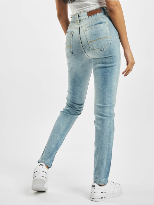 Urban Classics Slim Fit Jeans Ladies High Waist blue