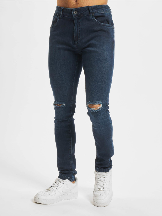 Urban Classics Slim Fit Jeans Knee Cut blå