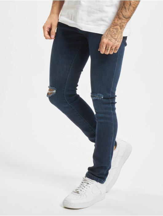 Urban Classics Slim Fit Jeans Knee Cut modrá