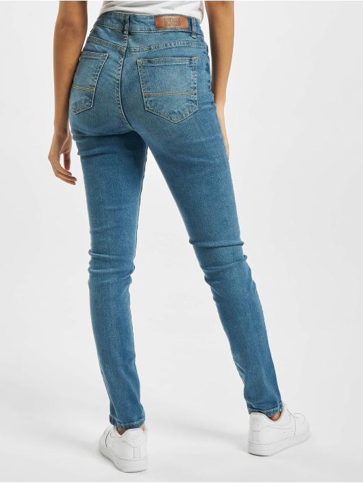 Urban Classics Slim Fit Jeans Ladies High Waist modrý