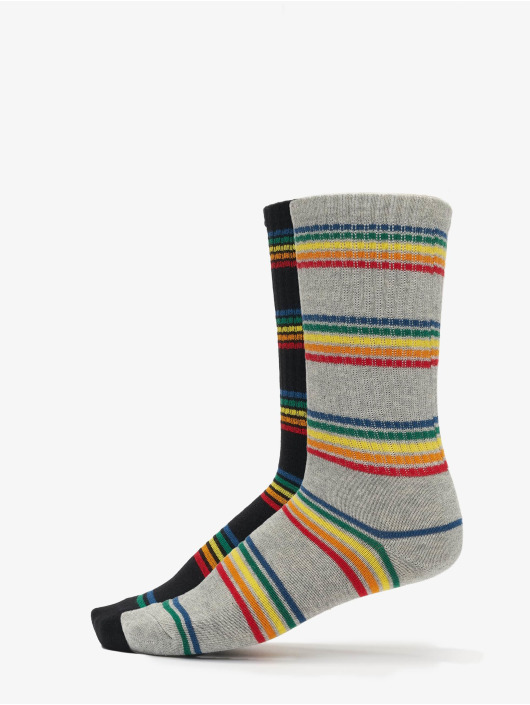 Urban Classics Socken Rainbow Stripes Socks 2-Pack schwarz