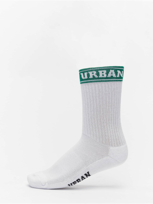 Urban Classics Socks Short Sporty Logo Socks Coloured Cuff 4-Pack white