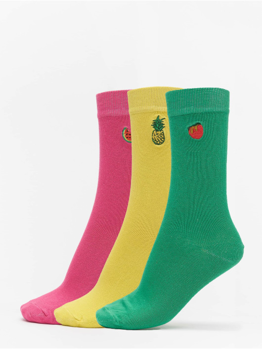 Urban Classics Socks Fun Embroidery Socks 3-Pack yellow