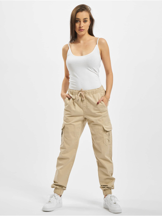 Urban Classics Spodnie Chino/Cargo Ladies High Waist Cargo Jogging bezowy