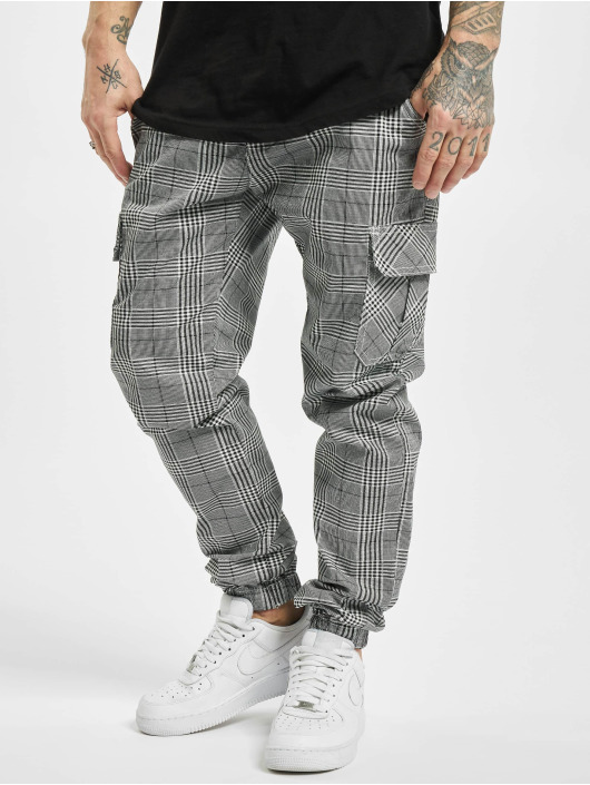 Urban Classics Spodnie Chino/Cargo AOP Glencheck bialy