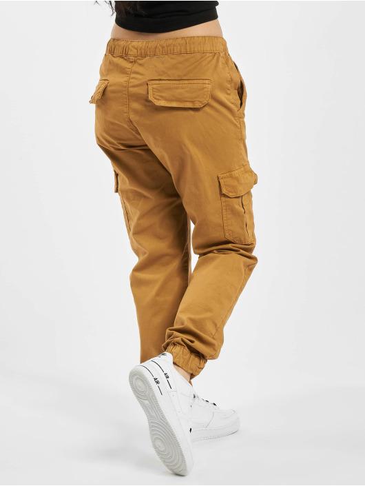 Urban Classics Spodnie Chino/Cargo Ladies High Waist Cargo brazowy