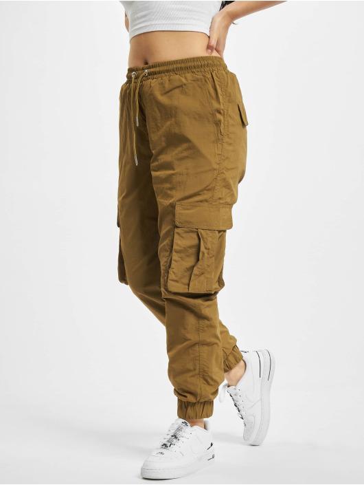 Urban Classics Spodnie Chino/Cargo Ladies High Waist Crinkle Nylon brazowy