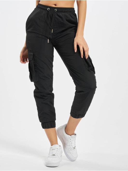 Urban Classics Spodnie Chino/Cargo Ladies High Waist Crinkle Nylon czarny