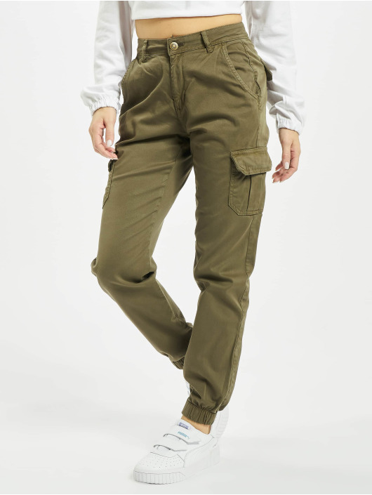 Urban Classics Spodnie Chino/Cargo Ladies High Waist Cargo oliwkowy