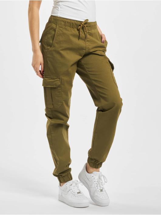 Urban Classics Spodnie Chino/Cargo Ladies High Waist Cargo Jogging oliwkowy