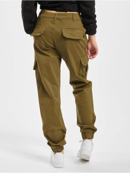 Urban Classics Spodnie Chino/Cargo High Waist Cargo oliwkowy