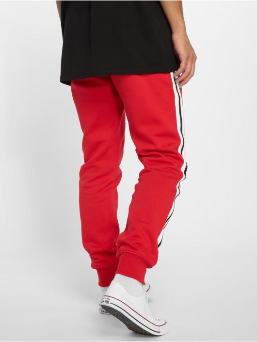 Urban Classics Spodnie do joggingu 3-Tone Side Stripe Terry czerwony