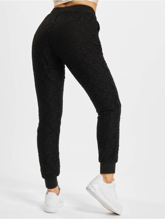 Urban Classics Spodnie wizytowe Lace Jersey Jog czarny
