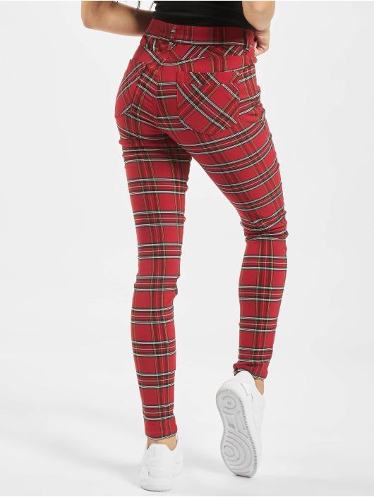 Urban Classics Spodnie wizytowe Skinny Tartan czerwony