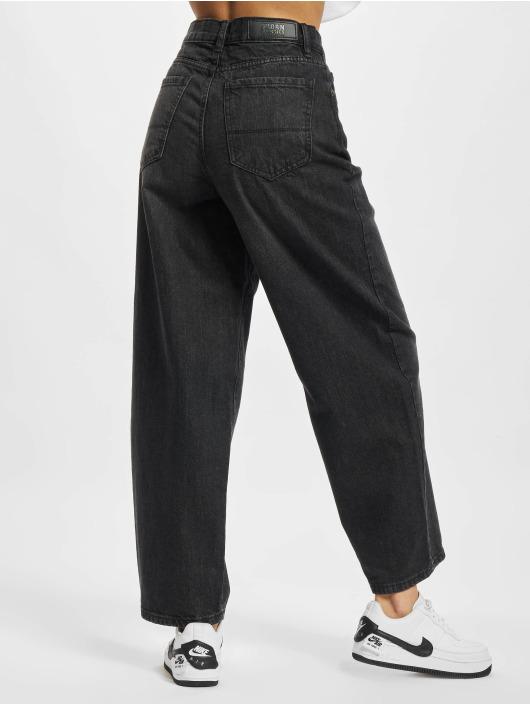 Urban Classics Straight Fit Jeans Ladies High Waist Wide Leg Cropped čern