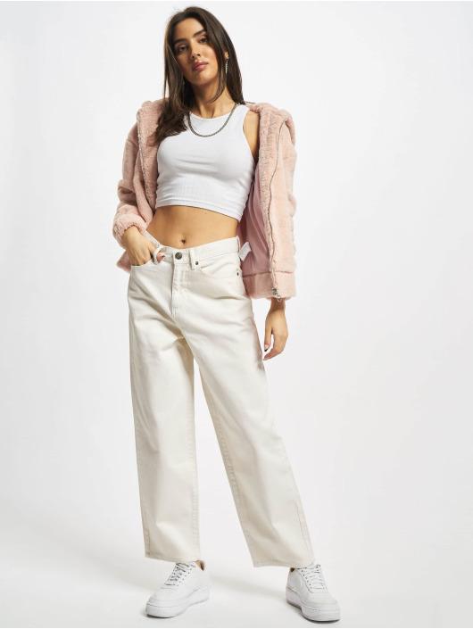 Urban Classics Straight Fit Jeans Ladies High Waist Wide Leg Cropped Denim béžový