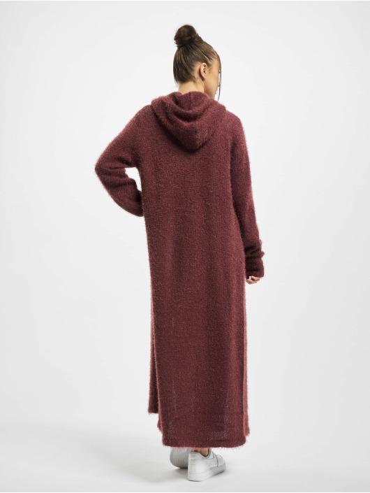 Urban Classics Strickjacke Ladies Hooded Feather rot