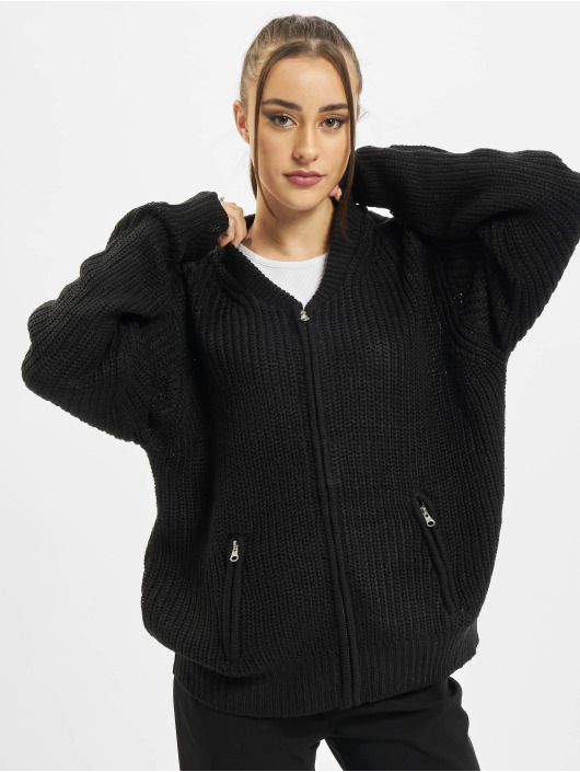 Urban Classics Strickjacke Ladies Knit Bomber schwarz