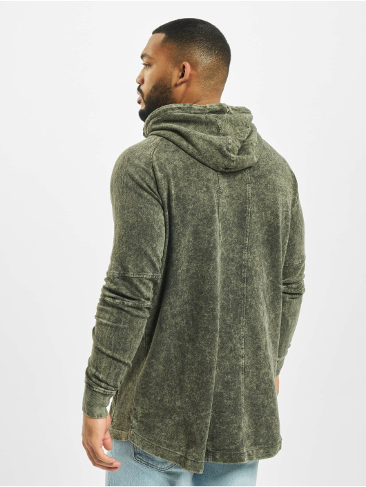 Urban Classics Sudadera Terry Acid Washed Long Shaped oliva