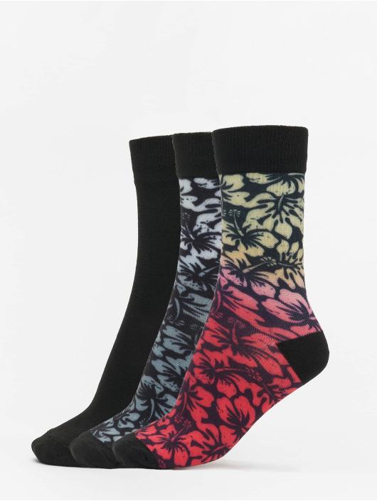 Urban Classics Sukat Flower Socks 3-Pack musta