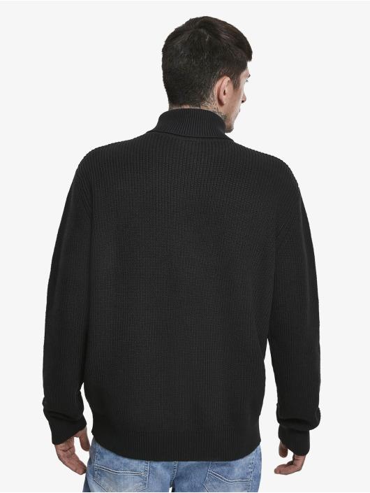Urban Classics Svetry Cardigan Stitch Roll Neck čern