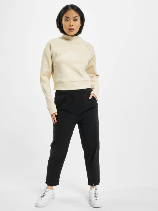 Urban Classics Svetry Ladies Interlock Short Turtleneck Crew béžový