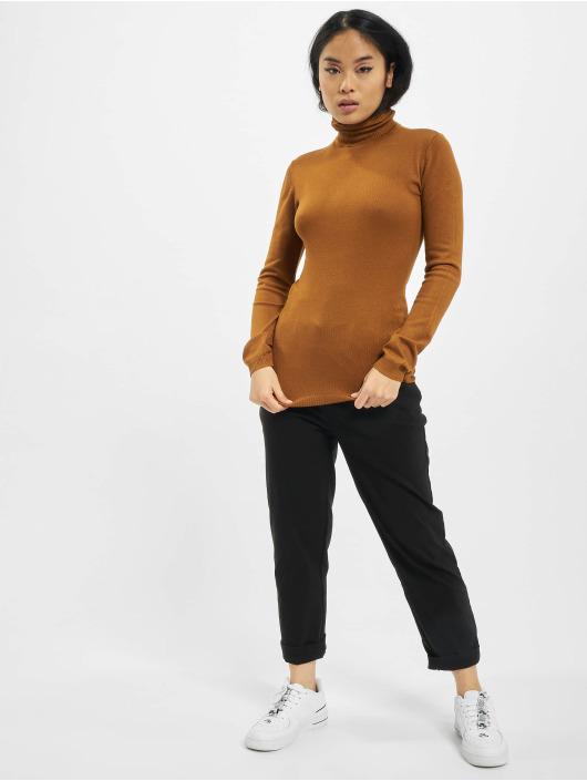 Urban Classics Svetry Ladies Basic Turtleneck hnědý